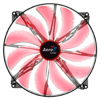Aerocool Silent Master 20cm Quad Red LED Sleeve Bearing Fan 18dBA - Click below for large images